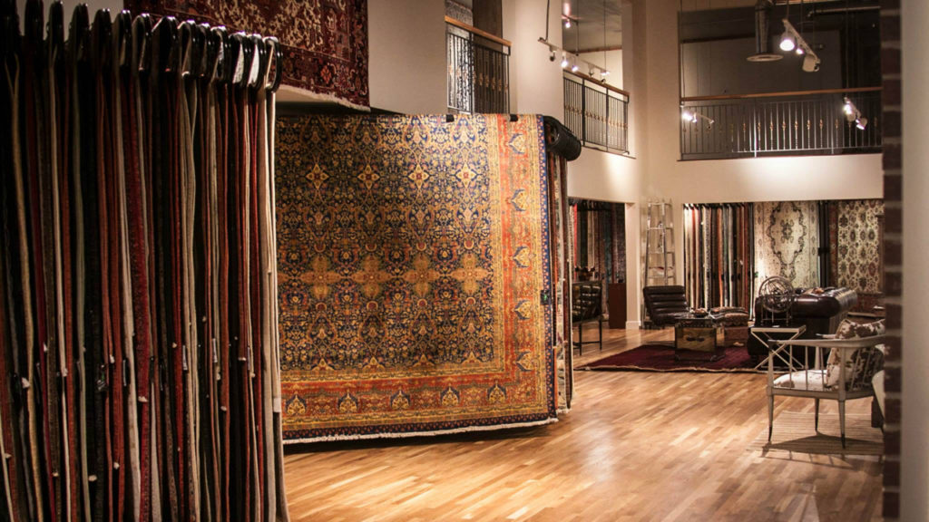 Old Ibraheems 636 S Broadway Denver, CO 80209 Showroom inside showing fine rugs