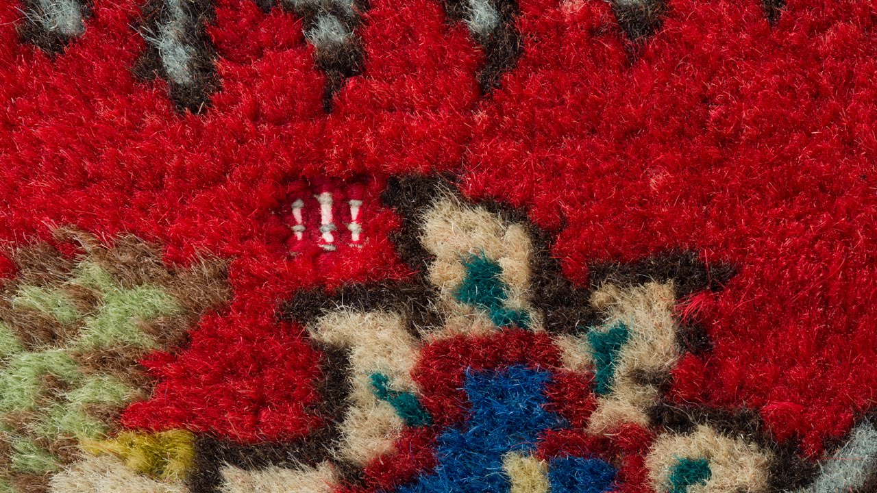 oriental rug with moth damage closeup