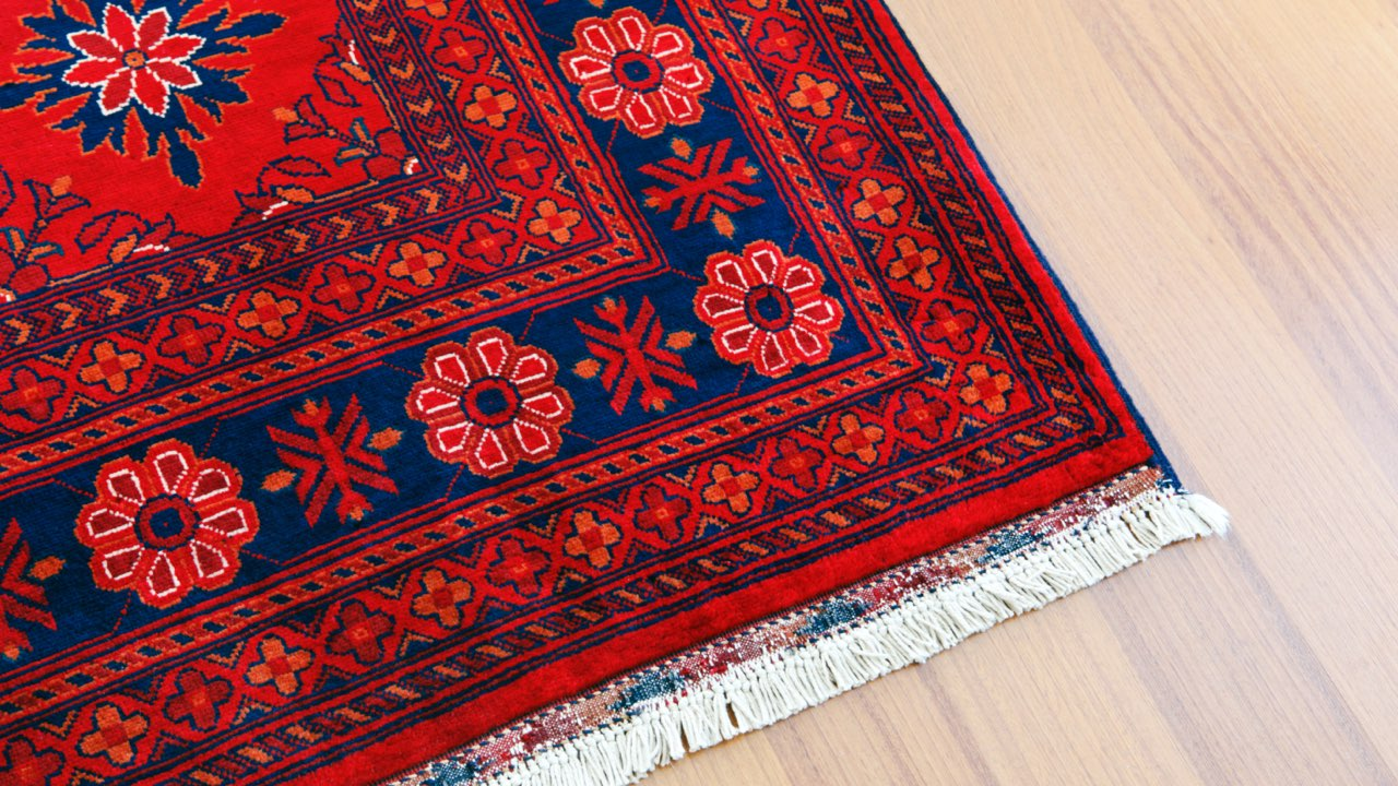 Turkish rug on hardwood floor